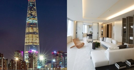 Lotte World Tower and the luxurious office room 'Lotte Siginel Residence' in the living room. [Photo Lotte Offers]